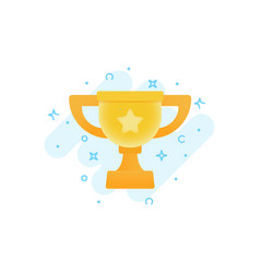 gold winner cup award flat icon vector image