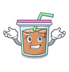 Grinning bubble tea character cartoon vector