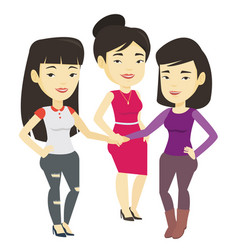 Group of business women joining hands vector