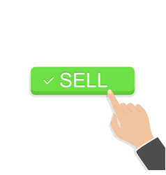 Hand holding button with word sell on blank vector