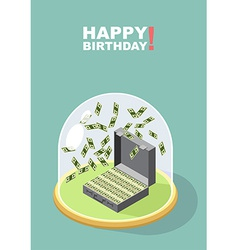 Happy Birthday Falling money Case of money Wealth vector