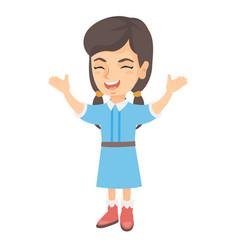 happy caucasian girl standing with raised hands vector image