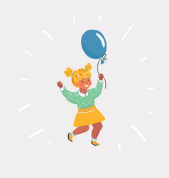 happy girl with balloon vector image