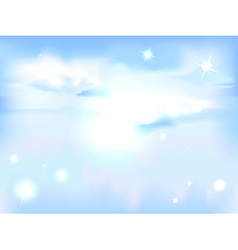 horizontal sky with sun - blue abstract background vector image