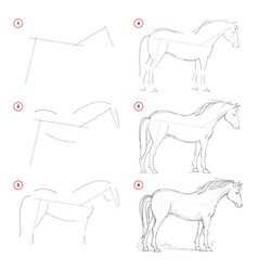How to draw from nature sketch standing horse vector