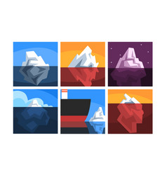 Icebergs collection iceberg floating on water vector