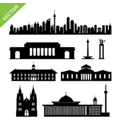 indonesia jakarta landmark and skyline silhouettes vector image