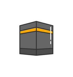 Islam kaaba simple monoline icon style for muslim vector