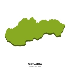 Isometric map of Slovakia detailed vector image