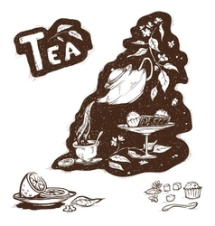 Kettle with tea vector