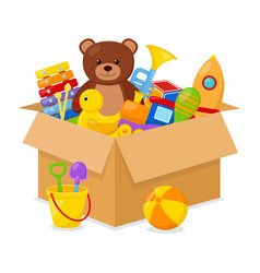 kid toys in a box vector image