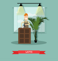 latte concept in flat style vector image