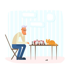 lonely old man playing chess with a ginger cat vector image