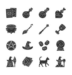 Magic glyph icons set witchcraft sorcery vector
