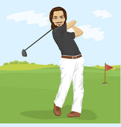 male golfer hitting golf shot with club on course vector image