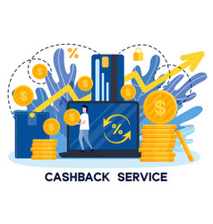 man receiving cashback from payment with credit vector image