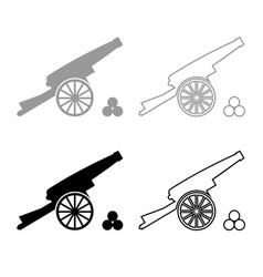 Medieval cannon firing cores icon outline set vector