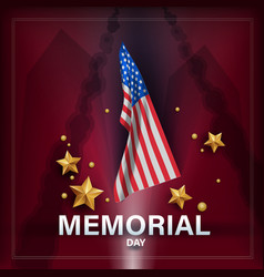memorial day remember and honor with usa flag vector image