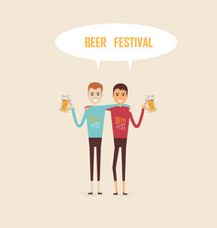men holding the beer mugsparty celebrationbeer vector image