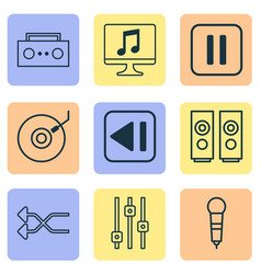 multimedia icons set with loudspeakers shuffle vector image
