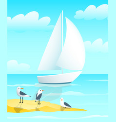 Naval blue nautical colored sailing yacht boat vector
