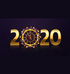 New year clock background golden 2020 numbers and vector