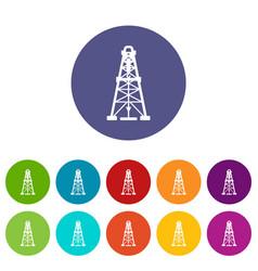 oil derrick icons set color vector image