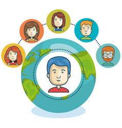 Online community globe design vector
