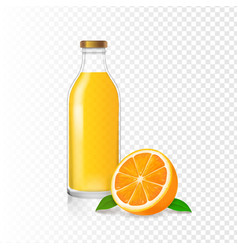 orange juice in glass bottle and realistic orange vector image