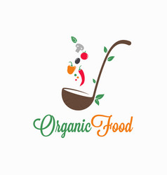 organic food logo ladle with vegetables on white vector image