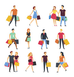 People shopping with shop bags cartoon flat vector