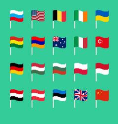 pixel flag set pixelated banner national vector image