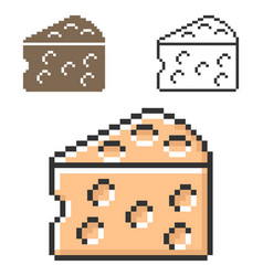 Pixel icon cheese piece in three variants vector