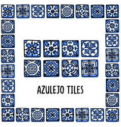 portugal landmarks set portuguese tiles azulejo vector image