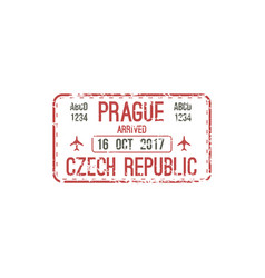 Prague airport arrival immigration visa stamp vector