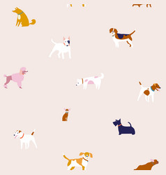 Puppies dog seamless pattern in breed vector
