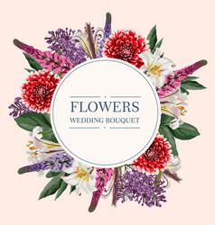 round wedding invitation frame with garden flowers vector image