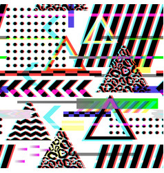Seamless pattern glitch design cyberpunk digital vector