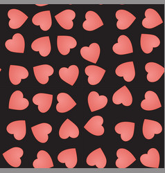 seamless pattern with cute pink hearts on a black vector image