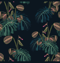 seamless pattern with tropical leaves and plants vector image