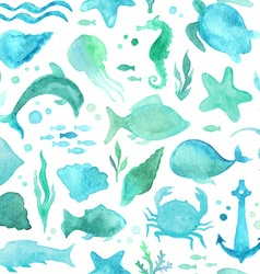 Seamless watercolor underwater life pattern vector image