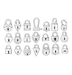 set doodle vintage locks on white background vector image