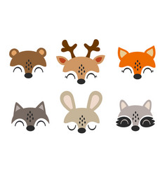 Set isolated baby animals faces vector