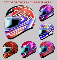 set of beautiful racing helmets vector image