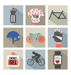 Set of Flat Design Bicycle and Accessories Icons vector image