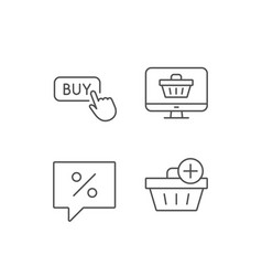 Shopping cart discount and buy button icons vector