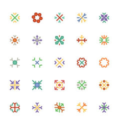 Snowflakes Colored Icons 3 vector image