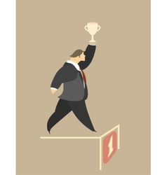 Stylized man runs with the cup vector