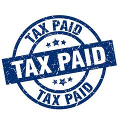 Tax paid blue round grunge stamp vector