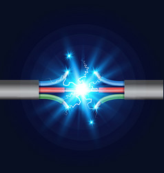 Three-core electric cable break with electric vector